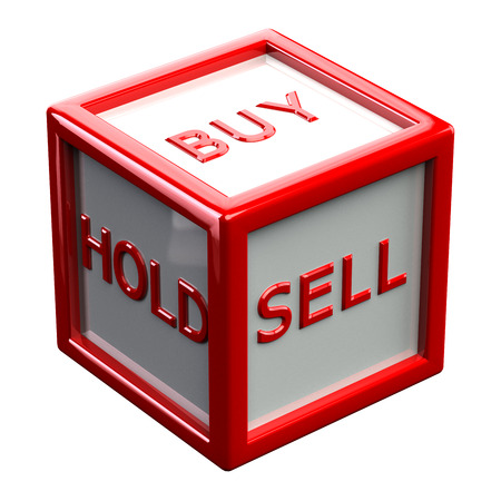 creating wealth: Words buy, hold, sale sale written on block, isolated on white background. 3D render. Stock Photo