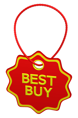 commercial activity: Best buy tag, isolated on white background. 3D render.