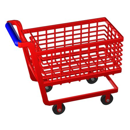shopping cart isolated: Empty shopping cart isolated on white background. 3D render.
