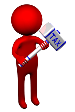tax law: 3d Man with hammer with word Tax, isolated on white background. 3D render.