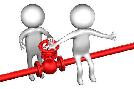 3d people: 3D People with pipeline with valve, isolated on white background. 3D render. Stock Photo