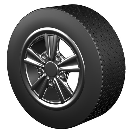 tire cover: Car wheel, isolated on white background. 3D render.