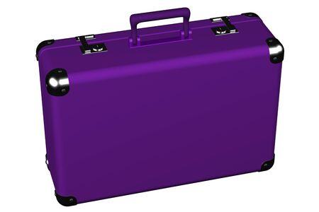 スーツケースは、白い背景で隔離。 3 D のレンダリング。
