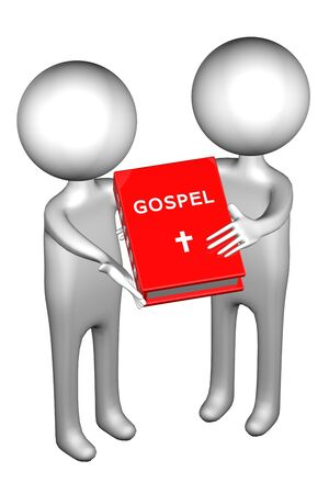 3d People with Gospel, isolated on white background. 3D render. Stock Photo