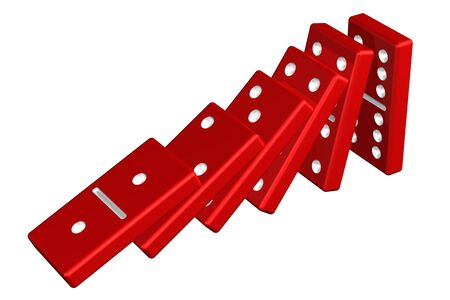 domino effect: Concept : domino effect, isolated on white background. 3D render.