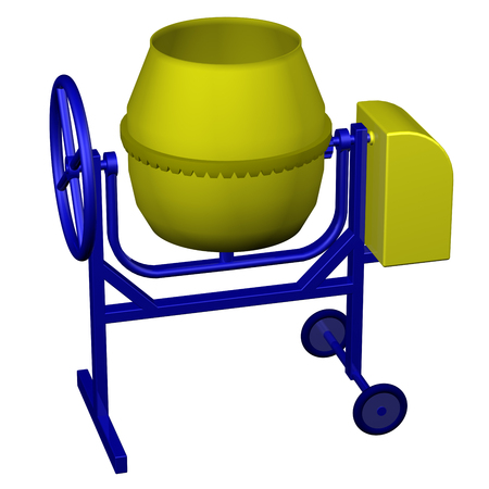 concrete mixer: Small concrete mixer, isolated on white background. 3D render.