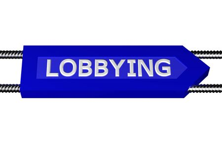 exemptions: Word lobbying written on the arrow, isolated on white background. 3D render. Stock Photo