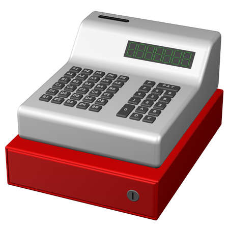 retail equipment: Old POS system, isolated on white background. 3D render.