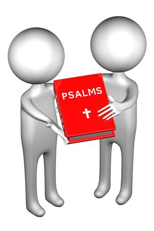 3d People with Psalms, isolated on white background. 3D render.