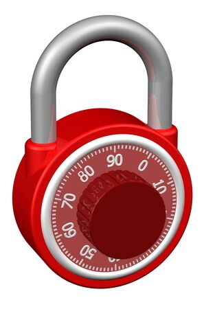 interlock: Combination padlock, isolated on white background.  3D render.