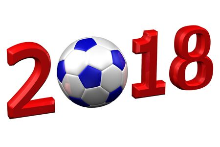 european culture: Concept: Soccer in 2018, isolated on white background. 3D render. Stock Photo