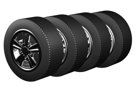 tire cover: Car wheels, isolated on white background. 3D render.
