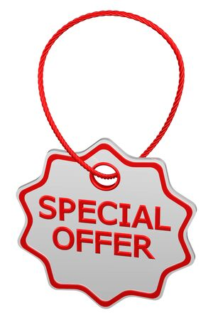 proposition: Special offer tag, isolated on white background. 3D render.
