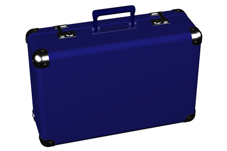 encasement: Suitcase, isolated on white background.  3D render. Stock Photo