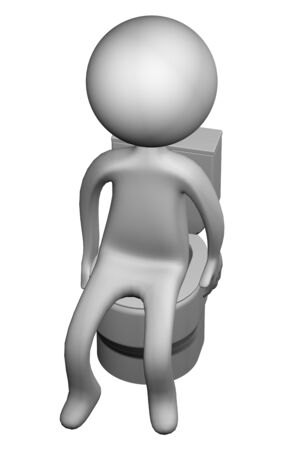 diarrhea illustration: 3d Man on the toilet seat, isolated on white background. 3D render.