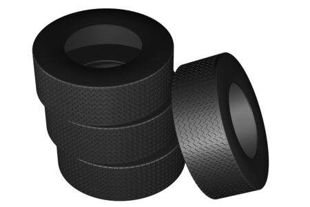 replacing: Tires, isolated on white background. 3D render.
