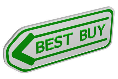 best buy: Best buy arrow, isolated on white background. 3D render. Stock Photo