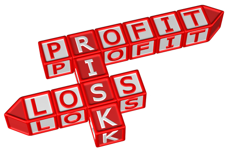 profit loss: Blocks with word Profit, Risk, Loss, isolated on white background. 3D render.
