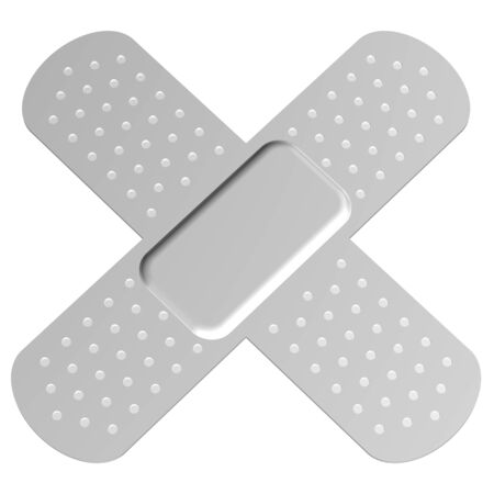 ouch: Cross bandage, isolated on white background. 3D render. Stock Photo