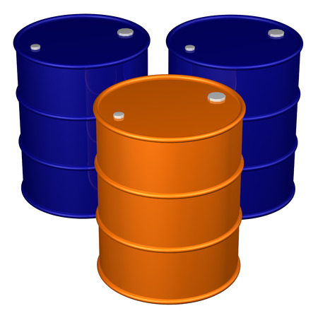 brent crude: Barrels, isolated on white background.  3D render. Stock Photo