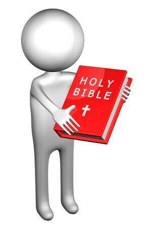 3d Man with Holy Bible, isolated on white background. 3D render.
