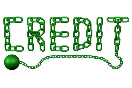 trapped: Finance concept: chain as word credit, isolated on white background. 3D render.