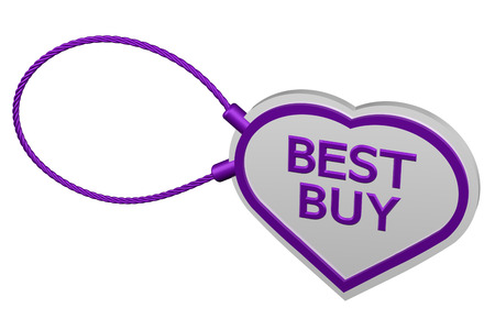 best buy: Heart tag best buy, isolated on white background. 3D render.