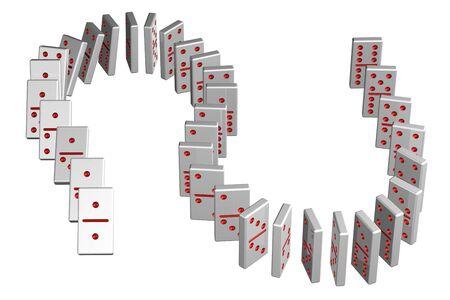 Concetto: effetto domino, isolato su sfondo bianco. 3D render. Archivio Fotografico