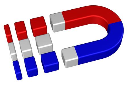 polarized: Horseshoe permanent magnet, isolated on white background. 3D render.