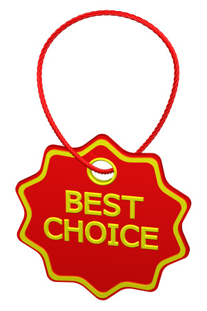 commercial activity: Best choice tag, isolated on white background. 3D render.