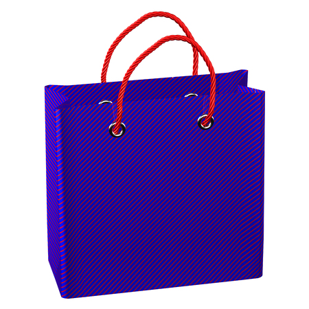 commercial event: Blue shopping bag, isolated on white background.  3D render.