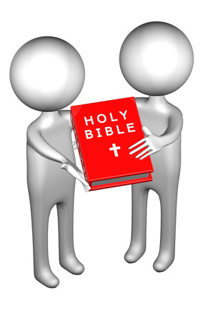 3d People with Holy Bible, isolated on white background. 3D render. Stock Photo