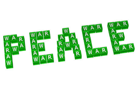 Word Peace written with blocks with letters W,A,R, isolated on white background. 3D render.
