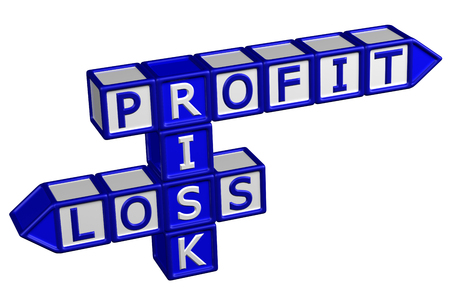 creating wealth: Blocks with word Profit, Risk, Loss, isolated on white background. 3D render.