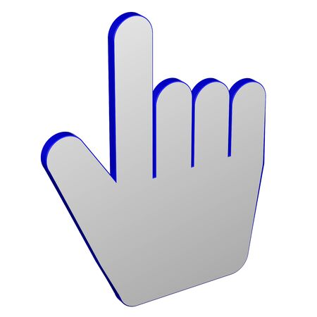 Hand cursor, isolated on white background. 3D render.