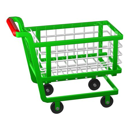 shoppingcart: Empty shopping cart isolated on white background. 3D render.
