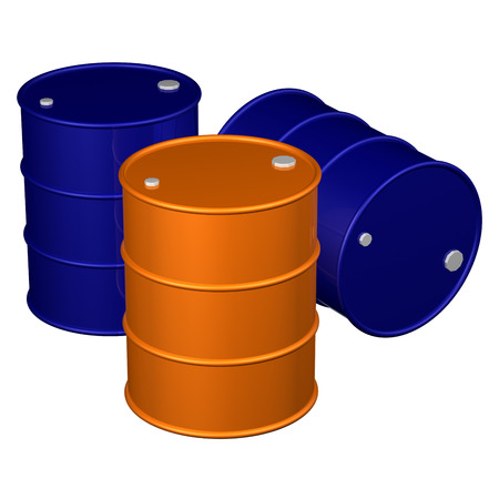 bbl: Barrels, isolated on white background.  3D render. Stock Photo