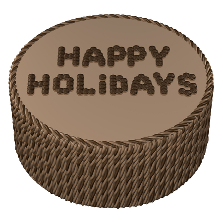 sweetstuff: Round chocolate cream cake with words happy holidays, isolated on white background.  3D render. Stock Photo