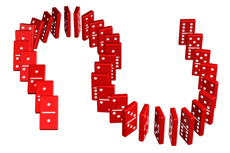 Concept : domino effect, isolated on white background. 3D render.