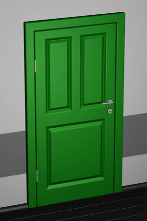 corridor: Closed door in a corridor. 3D render.