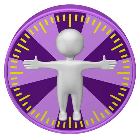 minimum wage: Concept : man-hour. 3d Man and clock face. Isolated on white background. 3D render.