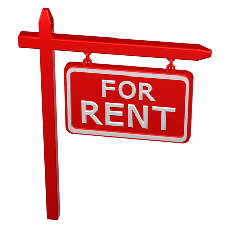 commercial activity: Pillar with sign for rent, isolated on white background. 3D render.