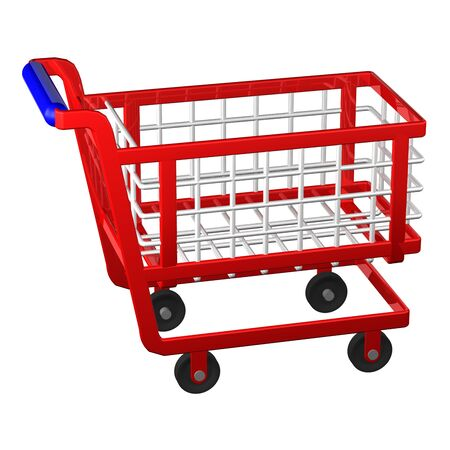 empty shopping cart: Empty shopping cart isolated on white background. 3D render.