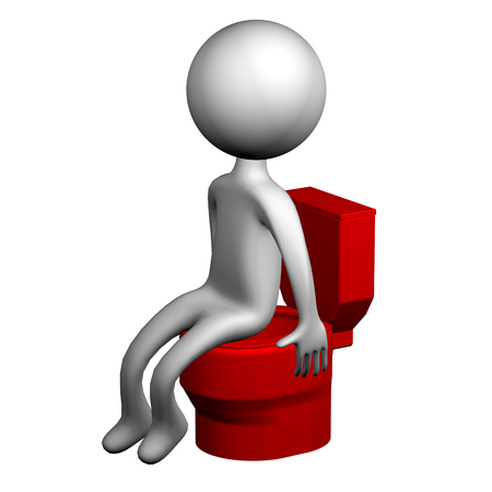 diarrhoea: 3d Man on the toilet seat, isolated on white background. 3D render.