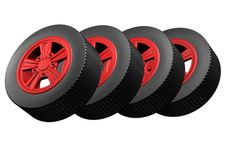 replacing: Car wheels, isolated on white background. 3D render.