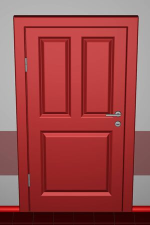 corridor: Closed red door in a corridor. 3D rendering. Stock Photo