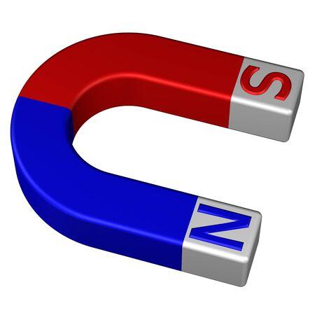 Horseshoe permanent magnet, isolated on white background. 3D rendering.