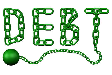 Finance concept: chain as word debt, isolated on white background. 3D rendering. Stock Photo