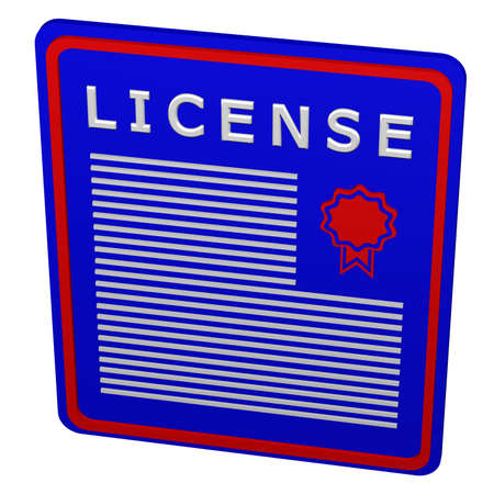 commercial law: Concept: license. Plate with the word license. 3D rendering.
