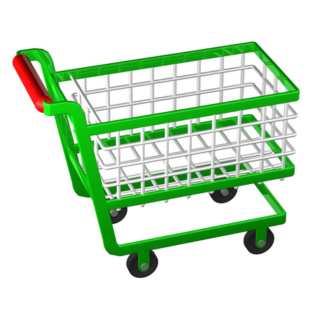shopping people: Empty shopping cart isolated on white background. 3D rendering.